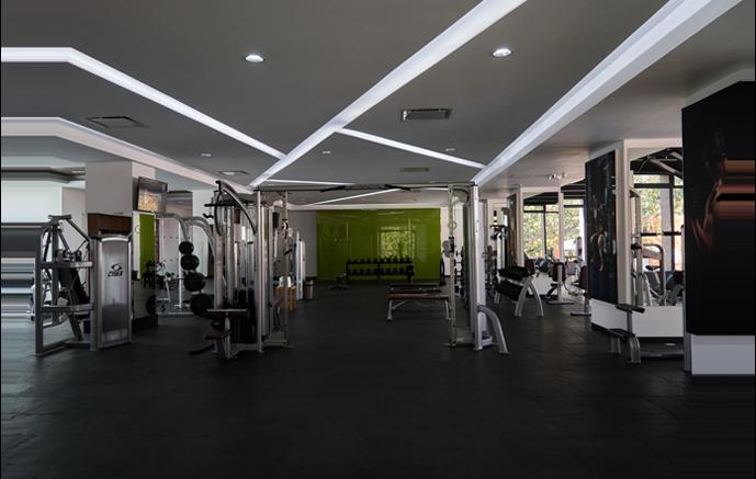 Zona del gimnasio con poleas y peso libre al fondo con mancuernas