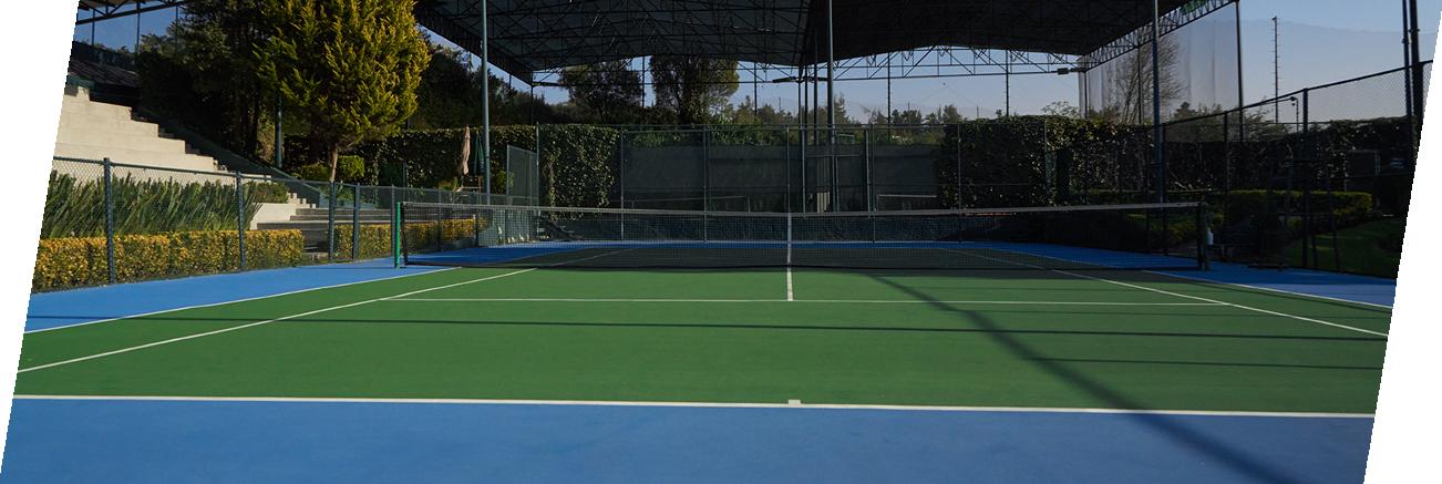 Varias pistas de tennis techadas con pasto y de superficie dura